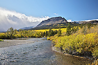 St. Marys River, fall colors, Glacier National Park