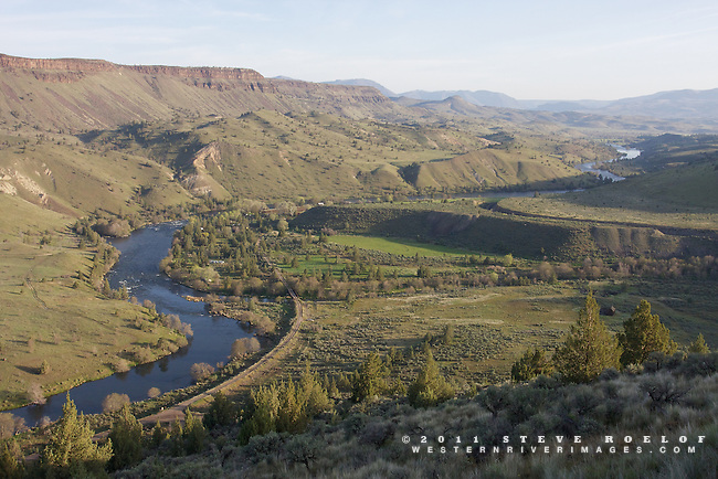 The confluence of Trout Creek and the Deschutes River at dawn.