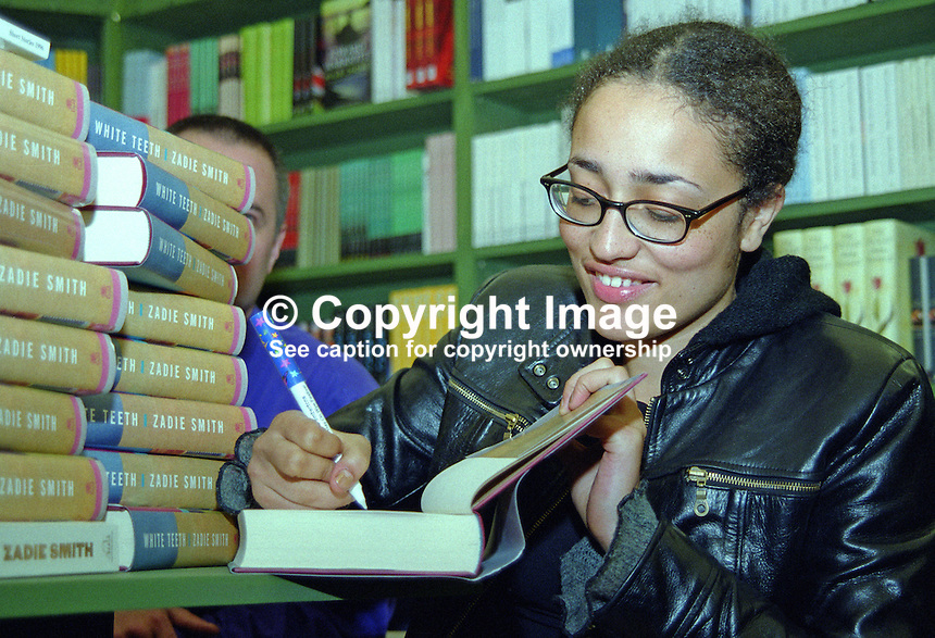 Zadie Smith, novelist, author, writer, Britain, UK. Hay Book Festival. 200005279..Copyright Image from Victor Patterson, 54 Dorchester Park, Belfast, UK, BT9 6RJ..Tel: +44 28 9066 1296.Mob: +44 7802 353836.Voicemail +44 20 8816 7153.Skype: victorpattersonbelfast.Email: victorpatterson@mac.com.Email: victorpatterson@ireland.com (back-up)..IMPORTANT: If you wish to use this image or any other of my images please go to www.victorpatterson.com and click on the Terms & Conditions. Then contact me by email or phone with the reference number(s) of the image(s) concerned.