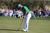 Jon Rahm (ESP) birdie putt on the 6th green during Saturday's Round 3 of the Waste Management Phoenix Open 2018 held on the TPC Scottsdale Stadium Course, Scottsdale, Arizona, USA. 3rd February 2018.<br /> Picture: Eoin Clarke | Golffile<br /> <br /> <br /> All photos usage must carry mandatory copyright credit (&copy; Golffile | Eoin Clarke)