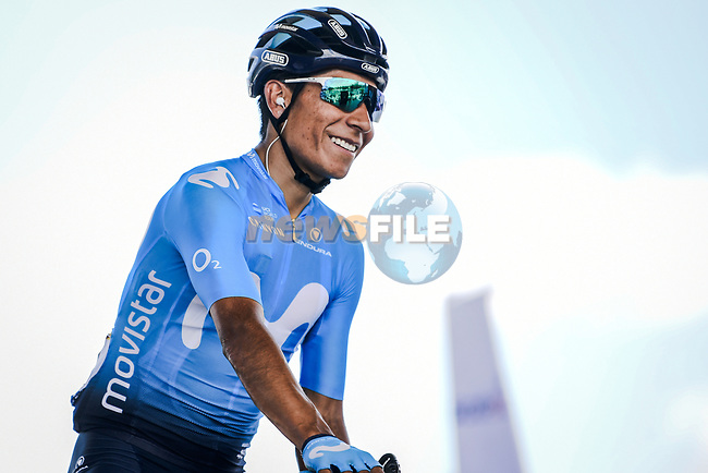Nairo Quintna (COL) Movistar Team at sign on before Stage 9 of the 2019 Tour de France running 170.5km from Saint-Etienne to Brioude, France. 14th July 2019.<br /> Picture: ASO/Pauline Ballet | Cyclefile<br /> All photos usage must carry mandatory copyright credit (© Cyclefile | ASO/Pauline Ballet)
