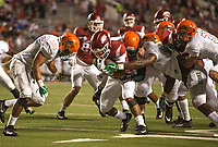 Hawgs Illustrated/BEN GOFF <br /> Chase Hayden, Arkansas running back, tries to break the tackle of Florida A&M defenders in the 4th quarter Thursday, Aug. 31, 2017, during the game at War Memorial Stadium in Little Rock.