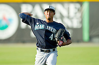 Pulaski Mariners starting pitcher Edwin Diaz (45) warms up in the outfield prior to the game against the Burlington Royals at Burlington Athletic Park on June20 2013 in Burlington, North Carolina.  The Royals defeated the Mariners 2-1 in 13 innings.  (Brian Westerholt/Four Seam Images)