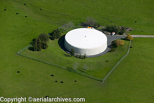 aerial photograph water holding tank,Petaluma, Sonoma county, California