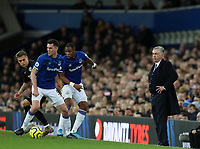 11th January 2020; Goodison Park, Liverpool, Merseyside, England; English Premier League Football, Everton versus Brighton and Hove Albion; Everton Manager Carlo Ancelotti  looks on from the touchline as Michael Keane of Everton wins the ball - Strictly Editorial Use Only. No use with unauthorized audio, video, data, fixture lists, club/league logos or 'live' services. Online in-match use limited to 120 images, no video emulation. No use in betting, games or single club/league/player publications