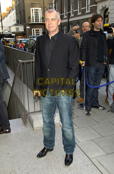 NEIL TENNANT .Arriving at the Linda McCartney photo exhibition, James Hyman Gallery, London, England, 23rd April 2008..photographic photographs full length black suit jacket jeans shoes shirt.CAP/CAS.©Bob Cass/Capital Pictures