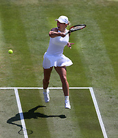 Simona Halep (ROU) during her match against Su-Wei Hsieh (TPE)  in their Ladies' Singles Third Round match<br /> <br /> Photographer Rob Newell/CameraSport<br /> <br /> Wimbledon Lawn Tennis Championships - Day 6 - Saturday 7th July 2018 -  All England Lawn Tennis and Croquet Club - Wimbledon - London - England<br /> <br /> World Copyright &not;&copy; 2017 CameraSport. All rights reserved. 43 Linden Ave. Countesthorpe. Leicester. England. LE8 5PG - Tel: +44 (0) 116 277 4147 - admin@camerasport.com - www.camerasport.com