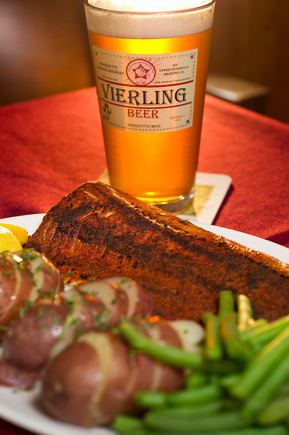 The Lake Superior Cajun Whitefish with a pint of beer at The Vierling Restaurant and Marquette Harbor Brewery in downtown Marquette, Michigan.