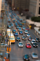 Heavy downtown traffic at rush hour.  Simulated tilt lens effect with focus on cars at front of the line of traffic.