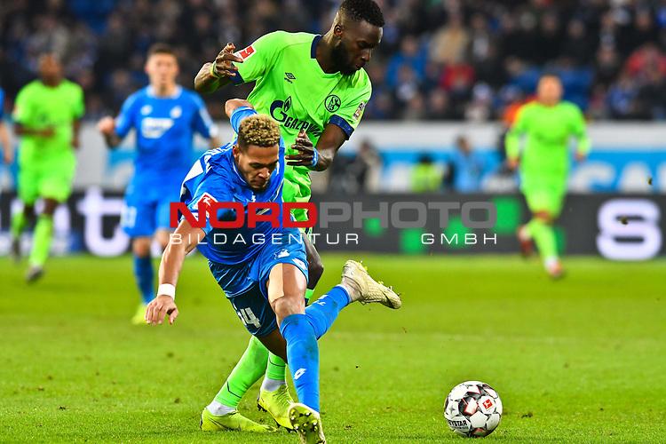 01.12.2018, wirsol Rhein-Neckar-Arena, Sinsheim, GER, 1 FBL, TSG 1899 Hoffenheim vs FC Schalke 04, <br /> <br /> DFL REGULATIONS PROHIBIT ANY USE OF PHOTOGRAPHS AS IMAGE SEQUENCES AND/OR QUASI-VIDEO.<br /> <br /> im Bild: Salif Sane (FC Schalke 04 #26) gegen <br /> Joelinton (TSG Hoffenheim #34)<br /> <br /> Foto © nordphoto / Fabisch