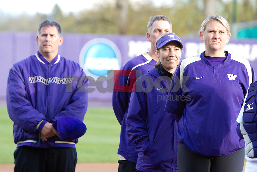 The University of Washington women's softball team played the University of Arizona at the UW in Seattle on Thursday April 5, 2012 . (Photo by Scott Eklund/ Red Box Pictures) Heather Tarr .Lance Glasoe .Cindy Ball.J.T. D'Amico
