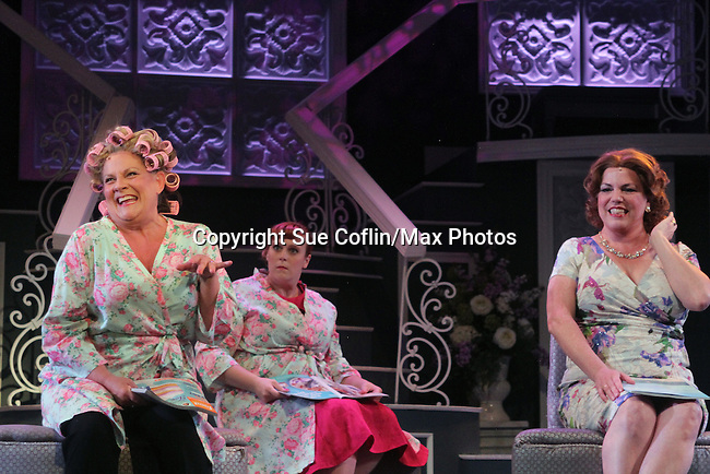 """Guiding Light's Kim Zimmer stars with All My Children's Jane Brockman (R) and Molly Tower in """"It Shoulda Been You"""" - a new musical comedy - at the Gretna Theatre on July 30, 2016. Both Jane and Kim starred separate companies of the national tour of Wicked. (Photo by Sue Coflin/Max Photos)"""