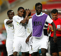 Ghana's Frank Acheampong (C) celebrate his goal with team mate during their FIFA U-20 World Cup Turkey 2013 Group Stage Group A soccer match Ghana betwen USA at the Kadir Has stadium in Kayseri on June 27, 2013. Photo by Aykut AKICI/isiphotos.com