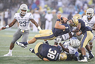 Annapolis, MD - September 8, 2018: Navy Midshipmen wide receiver Zach Abey (9) dives for the first down during the game between Memphis and Navy at  Navy-Marine Corps Memorial Stadium in Annapolis, MD.   (Photo by Elliott Brown/Media Images International)