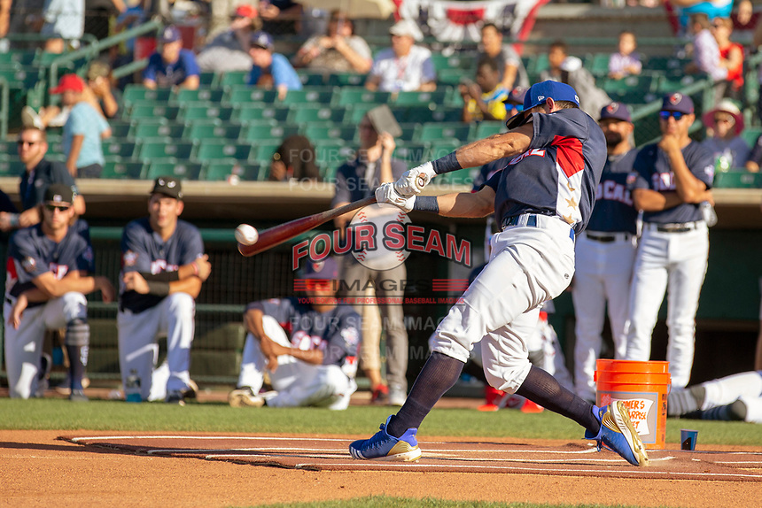 Rylan Bannon (4) of the Rancho Cucamonga Quakes participates in the Home Run Derby prior to the 2018 California League All-Star Game at The Hangar on June 19, 2018 in Lancaster, California. The North All-Stars defeated the South All-Stars 8-1.  (Donn Parris/Four Seam Images)