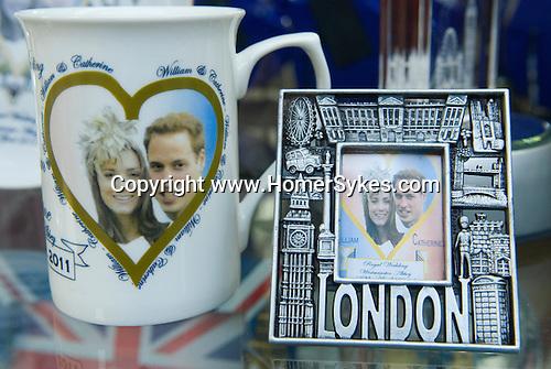 Prince William and Kate Middleton Royal Wedding memorabilia. London shop window.