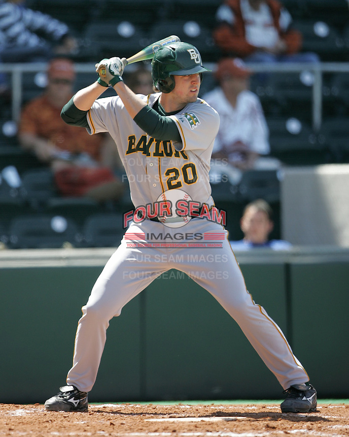 Baylor 1B Adam Hornung prepares to bat against Texas on Saturday May 3rd, 2008. Photo by Andrew Woolley / Four Seam Images.