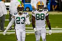 Green Bay Packers cornerback Damarious Randall (23) and running back Ty Montgomery (88) during a National Football League game against the Chicago Bears on September 28, 2017 at Lambeau Field in Green Bay, Wisconsin. Green Bay defeated Chicago 35-14. (Brad Krause/Krause Sports Photography)