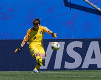 GRENOBLE, FRANCE - JUNE 12: Minjung Kim #18 of the Korean National Team goal kick during a game between Korea Republic and Nigeria at Stade des Alpes on June 12, 2019 in Grenoble, France.
