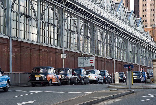 Taxi rank outside Waterloo Station, London, England