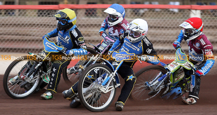 Heat 2: Mateusz Szczepaniak (white), Kevin Wolbert (yellow), Justin Sedgmen (red) and Robert Mear (blue) - Lakeside Hammers vs Kings Lynn Stars, Elite League Speedway at the Arena Essex Raceway, Pufleet - 22/06/12 - MANDATORY CREDIT: Rob Newell/TGSPHOTO - Self billing applies where appropriate - 0845 094 6026 - contact@tgsphoto.co.uk - NO UNPAID USE..