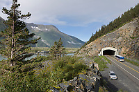 Road tunnel through the Chugach mountains from Portage to Whittier.