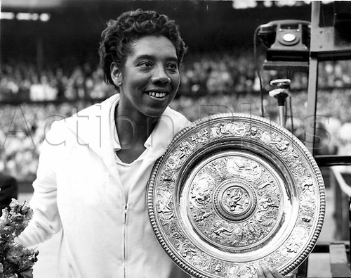 03.07.1958. Wimbledon England. Althea Gibson 3rd July 1958 with the trophy after winning the Wimbledon Championships ladies final.