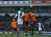 Blackburn Rovers' Danny Graham battles with Oldham Athletic's Kean Bryan and Anthony Gerrard (right) <br /> <br /> Photographer Stephen White/CameraSport<br /> <br /> The EFL Sky Bet League One - Blackburn Rovers v Oldham Athletic - Saturday 10th February 2018 - Ewood Park - Blackburn<br /> <br /> World Copyright &copy; 2018 CameraSport. All rights reserved. 43 Linden Ave. Countesthorpe. Leicester. England. LE8 5PG - Tel: +44 (0) 116 277 4147 - admin@camerasport.com - www.camerasport.com