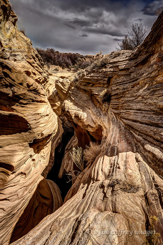 Striated rock of the water caves near Blue Canyon on the Hopi Reservation in northeastern Arizona.