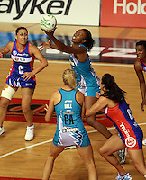 20.03.2010 Thunderbirds Carla Borrego in action during the ANZ Champs Netball match between the Mystics and Thunderbirds at Trusts Stadium in Auckland. Mandatory Photo Credit ©Michael Bradley.