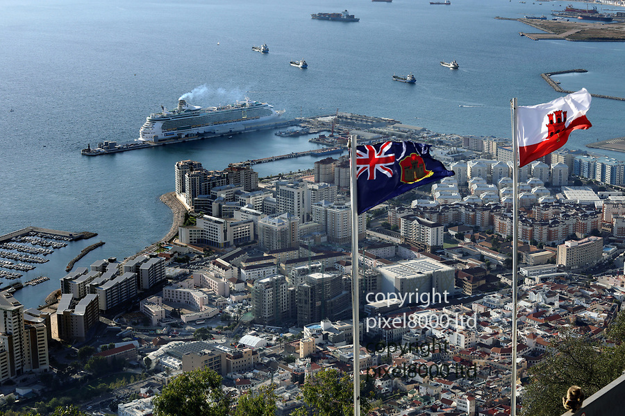 Pic shows: Gibraltar - looking down from the Rock of Gibraltar on the town<br /> <br /> in the news over Brexit as the Spanish Govt calling it a colony<br /> <br /> <br /> <br /> <br /> picture by Gavin Rodgers/ Pixel8000
