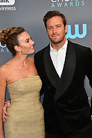 Armie Hammer &amp; Elizabeth Chambers at the 23rd Annual Critics' Choice Awards at Barker Hangar, Santa Monica, USA 11 Jan. 2018<br /> Picture: Paul Smith/Featureflash/SilverHub 0208 004 5359 sales@silverhubmedia.com