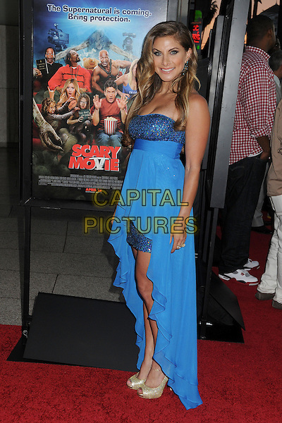 "Marisa Saks.Attending the ""Scary Movie 5"" Los Angeles film premiere held at the Cinerama Dome,  Hollywood, California, USA, .11th April 2013..full length  blue strapless dress sparkly long train gold open toe shoes .CAP/ADM/BP.©Byron Purvis/AdMedia/Capital Pictures"