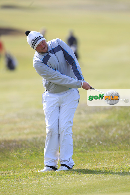 Cian Geraghty (Laytown and Bettystown) on the 1st green during Round 2 of the East of Ireland Amateur Open Championship at Co. Louth Golf Club, Baltray on Sunday 30th May 2015.<br /> Picture:  Thos Caffrey / www.golffile.ie