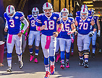 12 October 2014: Buffalo Bills quarterback Kyle Orton (18) leads the team out of the entrance tunnel to take the field against the New England Patriots at Ralph Wilson Stadium in Orchard Park, NY. The Patriots defeated the Bills 37-22 to move into first place in the AFC Eastern Division. Mandatory Credit: Ed Wolfstein Photo *** RAW (NEF) Image File Available ***