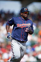 Minnesota Twins right fielder Miguel Sano (22) runs to first base during a Spring Training game against the Baltimore Orioles on March 7, 2016 at Ed Smith Stadium in Sarasota, Florida.  Minnesota defeated Baltimore 3-0.  (Mike Janes/Four Seam Images)