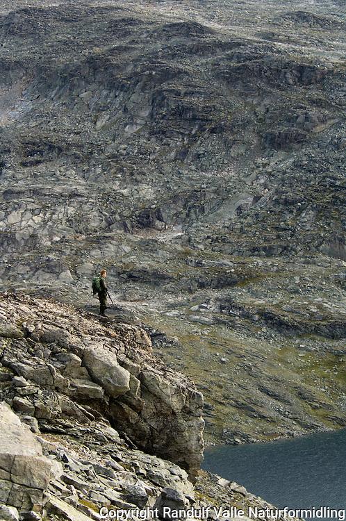 Jeger med haglegevær i fjellrypeterreng ----- Hunter with shotgun in mountain terrain
