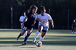 CARY, NC - APRIL 08: Courage's Samantha Witteman (26) pushes past North Carolina's Maya Worth (5). The NWSL's North Carolina Courage played a preseason game against the University of North Carolina Tar Heels on April 8, 2017, at WakeMed Soccer Park Field 3 in Cary, NC. The Courage won the match 1-0.
