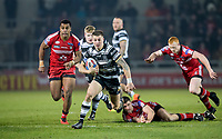 Picture by Allan McKenzie/SWpix.com - 16/03/2018 - Rugby League - Betfred Super League - Salford Red Devils v Hull FC - AJ Bell Stadium, Salford, England - Hull FC's Jamie Shaul breaks away from the Salford defence.