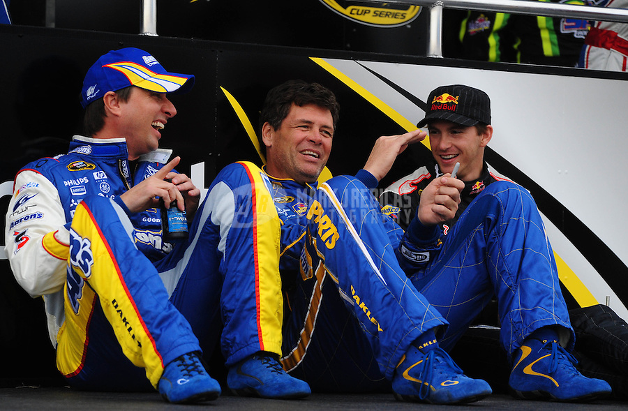 Feb 22, 2009; Fontana, CA, USA; NASCAR Sprint Cup Series drivers David Reutimann (left), Michael Waltrip (center) and Scott Speed prior to the Auto Club 500 at Auto Club Speedway. Mandatory Credit: Mark J. Rebilas-
