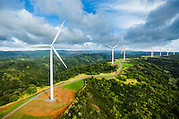 A row of windmills on O'ahu's North Shore.