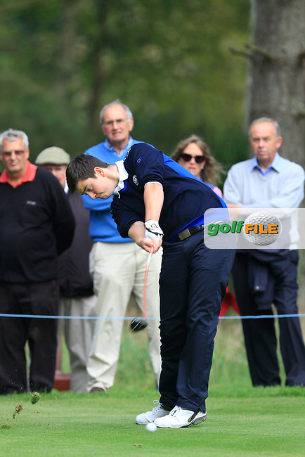 Max Schmitt (GER) on the 5th tee of the Mixed Fourballs, puts to go two up during the 2014 JUNIOR RYDER CUP at the Blairgowrie Golf Club, Perthshire, Scotland. <br /> Picture:  Thos Caffrey / www.golffile.ie