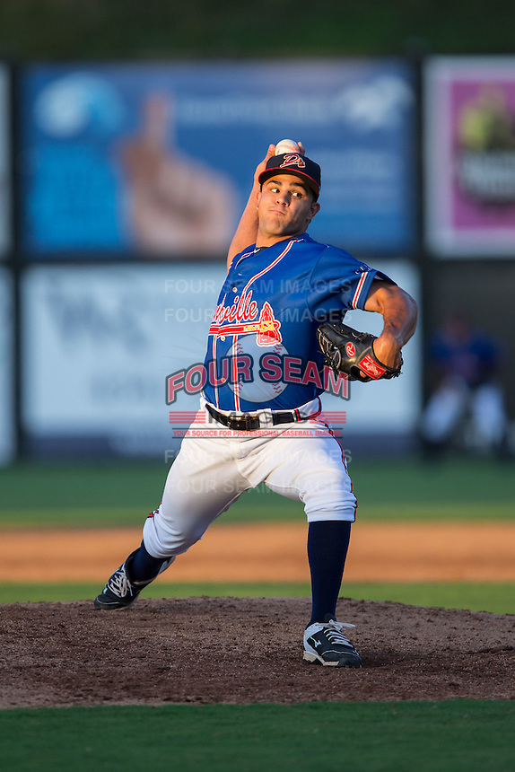 Danville Braves relief pitcher Dalton Carroll (53) in action against the Kingsport Mets at American Legion Post 325 Field on July 9, 2016 in Danville, Virginia.  The Mets defeated the Braves 10-8.  (Brian Westerholt/Four Seam Images)