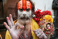 sadhu in Pashupatinath, Kathmandu, Nepal, September 2011. Follower of Vishnu (next supreme god Shiva, who is mainly adored in Pashupatinath)