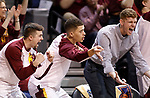 SIOUX FALLS, SD: MARCH 20:  The Northern State bench reacts to a 3-point score against East Stroudsburg during their game at the 2018 Division II Men's Elite 8 Basketball Championship at the Sanford Pentagon in Sioux Falls, S.D. (Photo by Dick Carlson/Inertia)