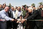 Palestinian Prime Minister, Salam Fayyad attends the opening celebration of fish farm in the Arab construction project in the outskirts of the West Bank Jordan Valley, April 16, 2012. Photo by Mustafa Abu Dayeh