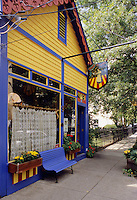 Lambertville, New Jersey.A restaurant on Union Street. Lambertville has become a trendy enclave of antique and art shops plus the occasional restaurant and wine shop...