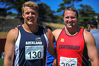 Shot putters Jacko Gill (left) and Tom Walsh on day three of the 2015 National Track and Field Championships at Newtown Park, Wellington, New Zealand on Sunday, 8 March 2015. Photo: Dave Lintott / lintottphoto.co.nz