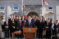 Justin Trudeau, Canada new  Prime Minister and his new cabinet adress the medias  on the grounds of Rideau Hall in Ottawa, Ontario, on Wednesday, November 4, 2015.<br /> <br /> PHOTO : Raffi Kirdi<br /> - Agence Quebec Presse