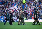 9th September 2017, Ibrox Park, Glasgow, Scotland; Scottish Premier League football, Rangers versus Dundee; Members of Army, Navy and Airforce lead out the teams on Rangers' Armed Forces Day